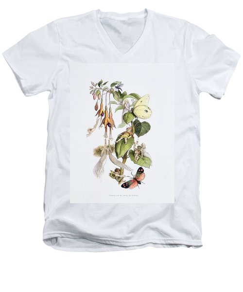 Feasting And Fun Among The Fuschias Men's V-Neck T-Shirt