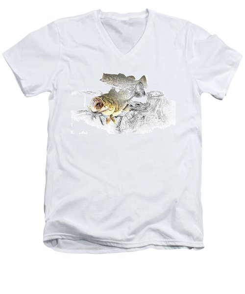 Feeding Largemouth Black Bass Men's V-Neck T-Shirt