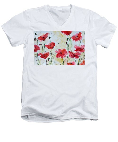 Men's V-Neck T-Shirt featuring the painting Feel The Summer 1 - Poppies by Ismeta Gruenwald