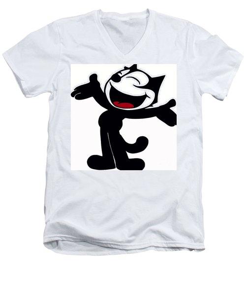 Felix The Cat Men's V-Neck T-Shirt by Saundra Myles