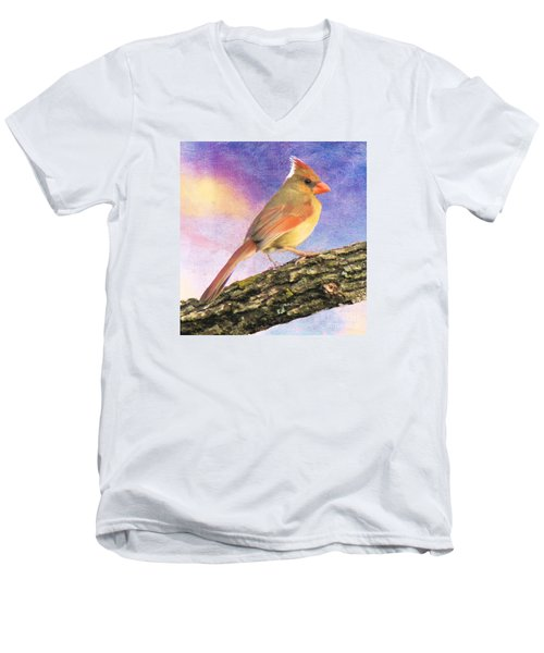 Female Cardinal Away From Sun Men's V-Neck T-Shirt by Janette Boyd