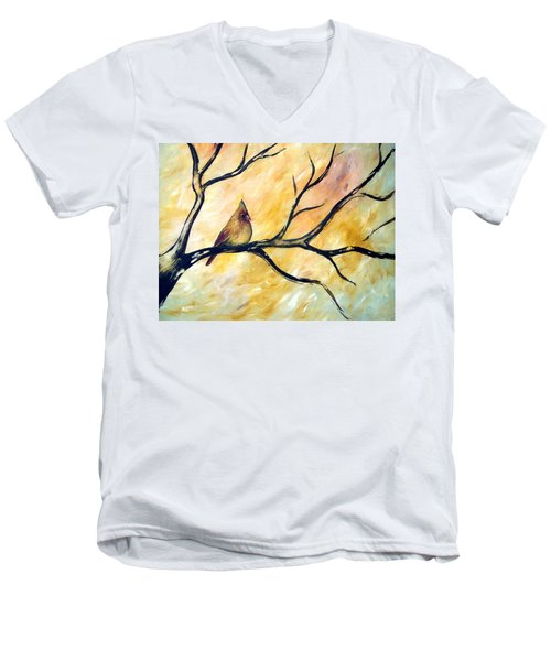Men's V-Neck T-Shirt featuring the painting Female Cardinal by Cynthia Amaral