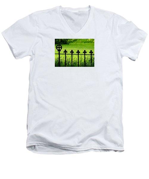 Fence And Cross Men's V-Neck T-Shirt
