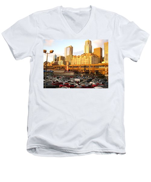 Ferry Lines At Sunset Men's V-Neck T-Shirt by David Trotter