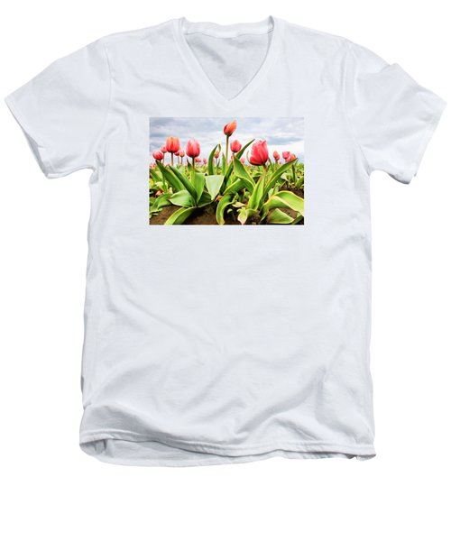 Men's V-Neck T-Shirt featuring the photograph Field Of Pink Tulips by Athena Mckinzie