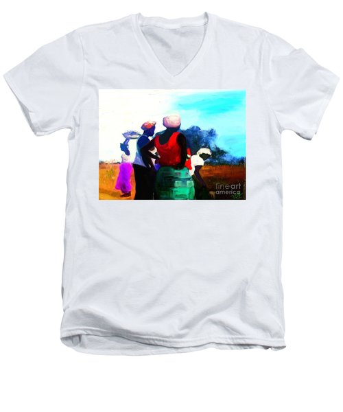 Men's V-Neck T-Shirt featuring the painting Field Women by Vannetta Ferguson
