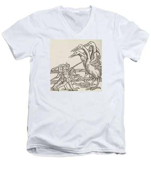 Fight Between Pygmies And Cranes. A Story From Greek Mythology Men's V-Neck T-Shirt