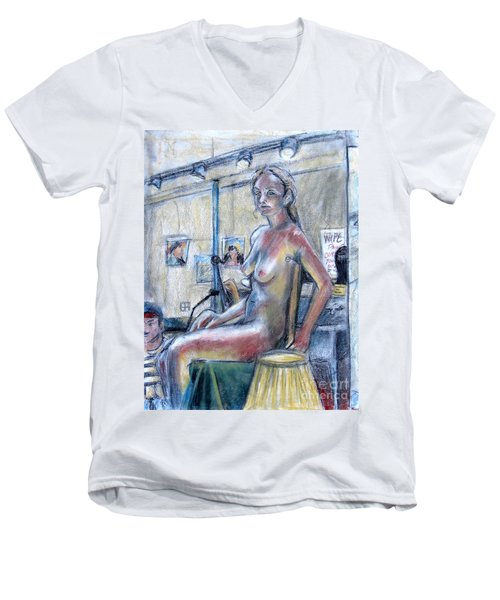 Figure Drawing- Primary Colors  Men's V-Neck T-Shirt by Samantha Geernaert