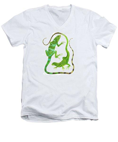 Fijian Iguanas Men's V-Neck T-Shirt by Cindy Hitchcock