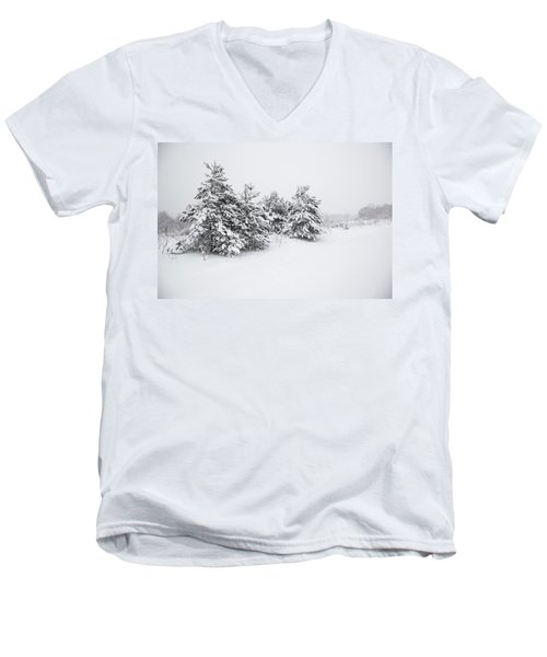 Fir Trees Covered By Snow Men's V-Neck T-Shirt