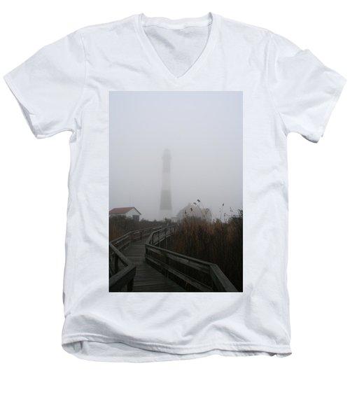 Fire Island Lighthouse In Fog Men's V-Neck T-Shirt