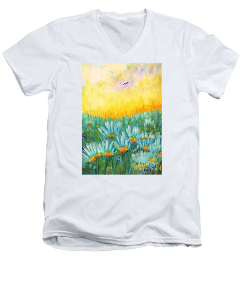 Men's V-Neck T-Shirt featuring the painting Firelight by Holly Carmichael