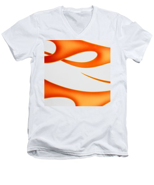 Men's V-Neck T-Shirt featuring the photograph Firey Orange by Joe Kozlowski
