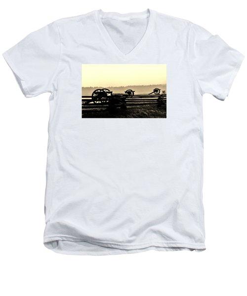 Firing Line Men's V-Neck T-Shirt by Daniel Thompson