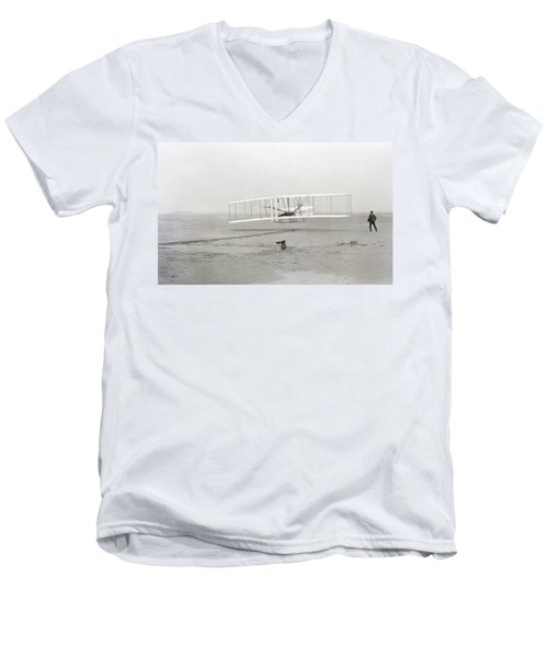 First Flight Captured On Glass Negative - 1903 Men's V-Neck T-Shirt by Daniel Hagerman