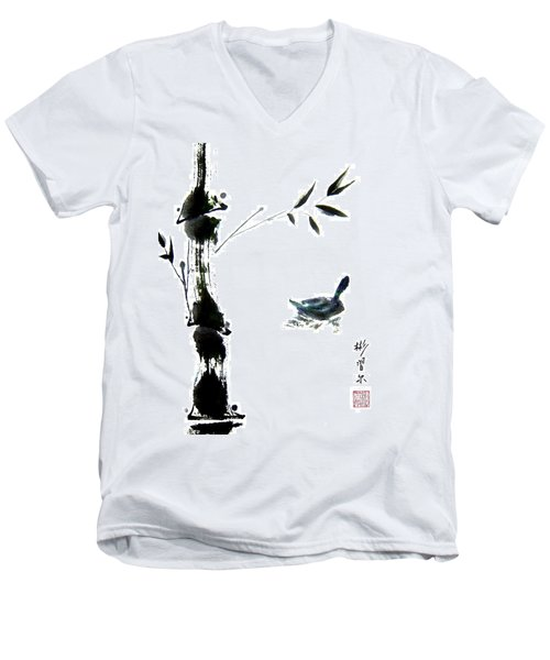Men's V-Neck T-Shirt featuring the painting First Reflection by Bill Searle
