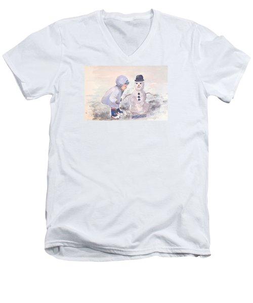 First Snowman Men's V-Neck T-Shirt by Genevieve Brown