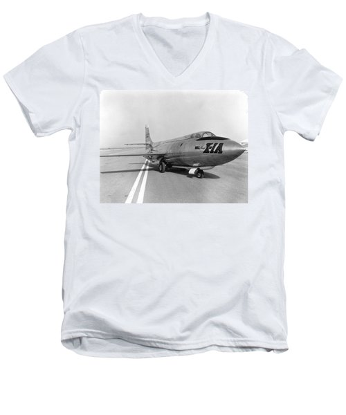 Men's V-Neck T-Shirt featuring the photograph First Supersonic Aircraft, Bell X-1 by Science Source