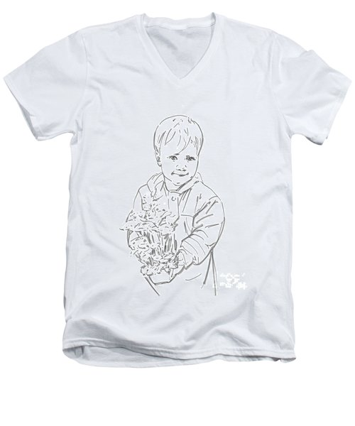 Men's V-Neck T-Shirt featuring the drawing First Time Growing Strawberries  by Olimpia - Hinamatsuri Barbu