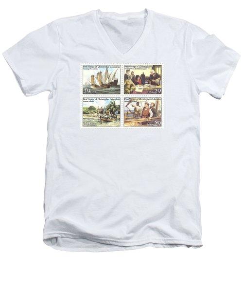 First Voyage Of Christopher Columbus Commemorative Stamp Block Men's V-Neck T-Shirt