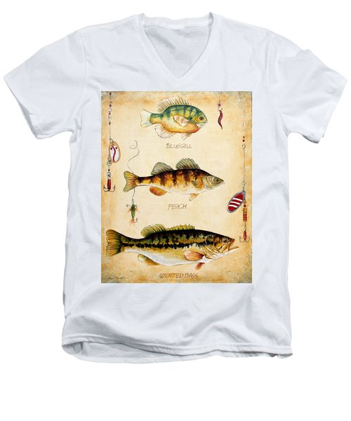 Fish Trio-c Men's V-Neck T-Shirt by Jean Plout