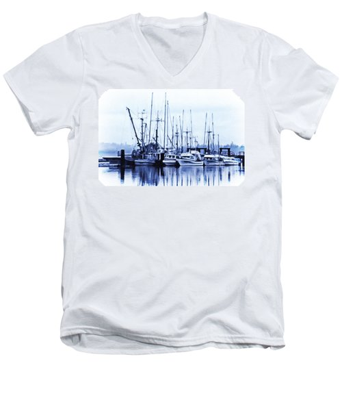 Men's V-Neck T-Shirt featuring the digital art Fishers' Wharf by Richard Farrington