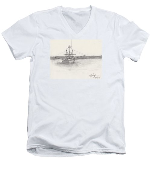 Men's V-Neck T-Shirt featuring the drawing Fishing Boat by David Jackson