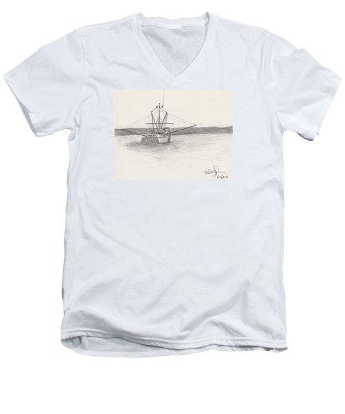 Fishing Boat Men's V-Neck T-Shirt by David Jackson