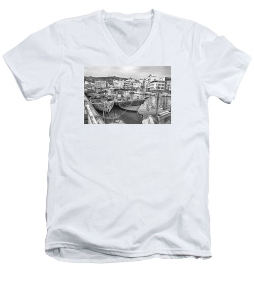 Fishing Boats B W Men's V-Neck T-Shirt
