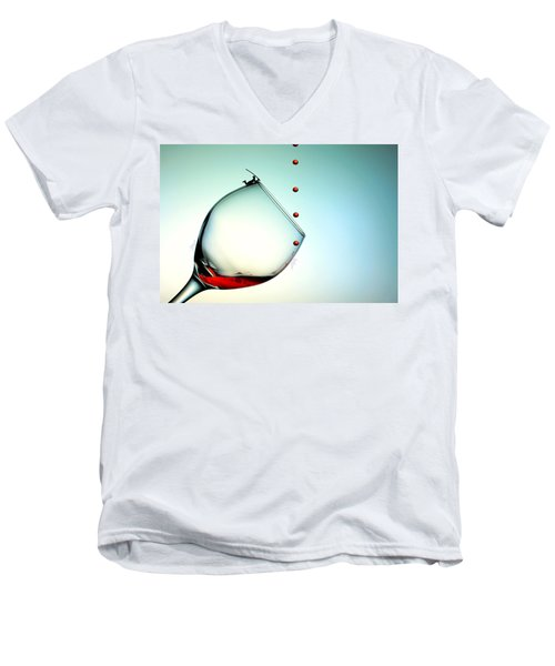 Fishing On A Glass Cup With Red Wine Droplets Little People On Food Men's V-Neck T-Shirt