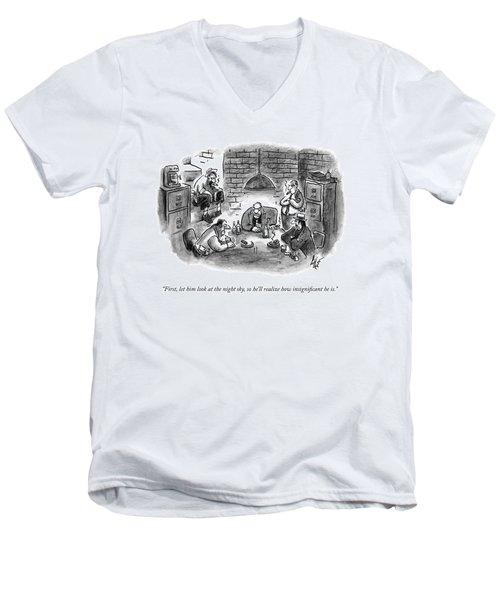 Five Mobsters Meet In A Dim Basement Men's V-Neck T-Shirt