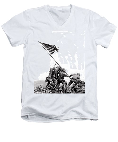 Flag Raising At Iwo Jima Men's V-Neck T-Shirt