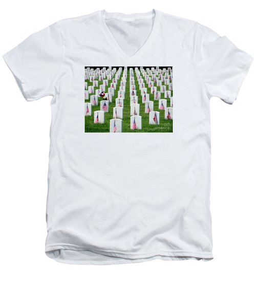Men's V-Neck T-Shirt featuring the photograph Flags Of Honor by Ed Weidman