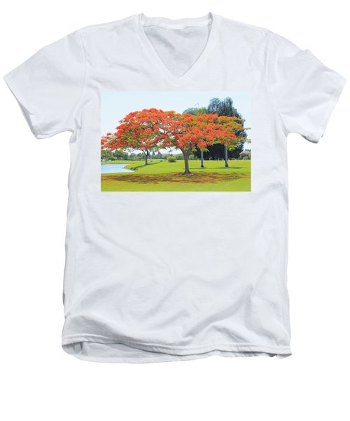 Flame Tree Men's V-Neck T-Shirt