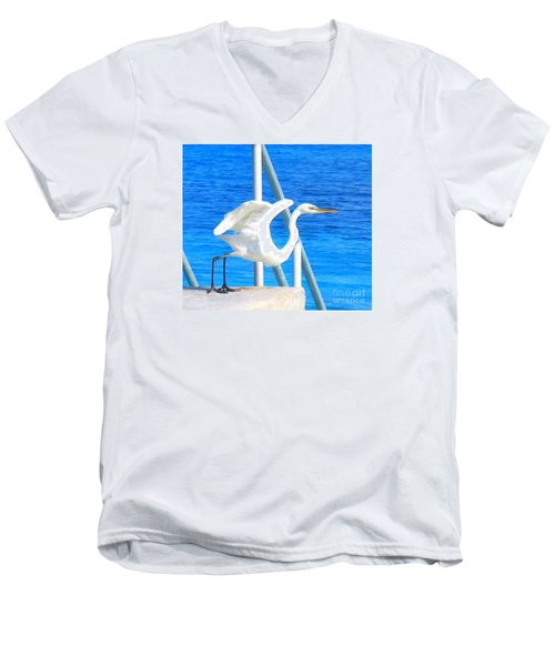Men's V-Neck T-Shirt featuring the photograph Flaps Up by Patti Whitten