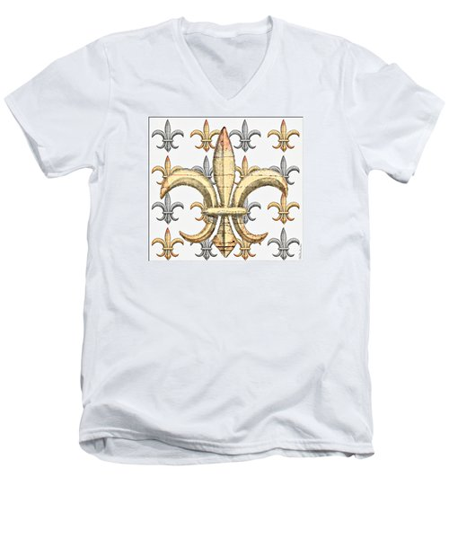 Fleur De Lys Silver And Gold Men's V-Neck T-Shirt