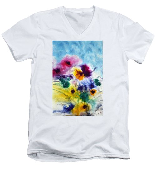 Men's V-Neck T-Shirt featuring the painting Fleurs by Joan Hartenstein
