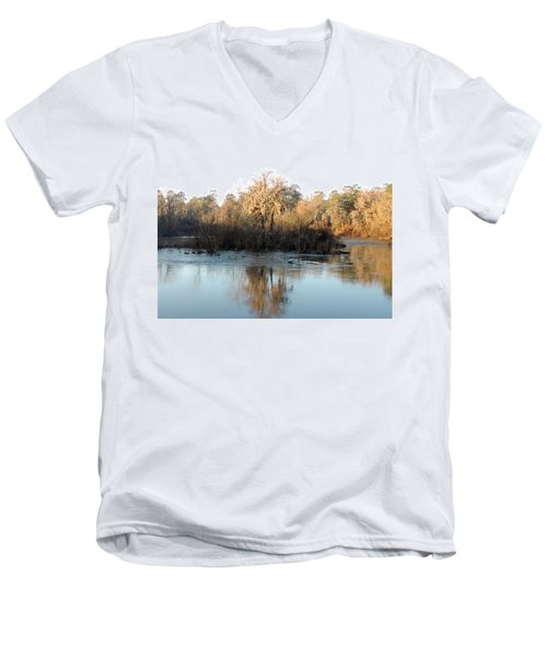 Men's V-Neck T-Shirt featuring the photograph Flint River 27 by Kim Pate