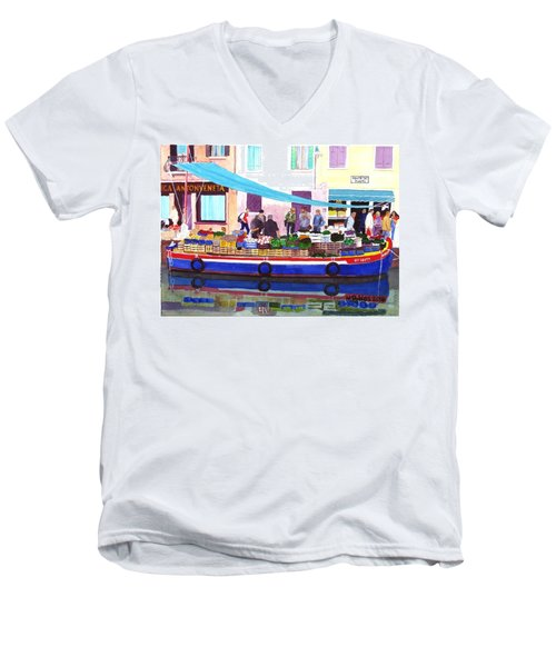 Floating Grocery Store Men's V-Neck T-Shirt by Mike Robles