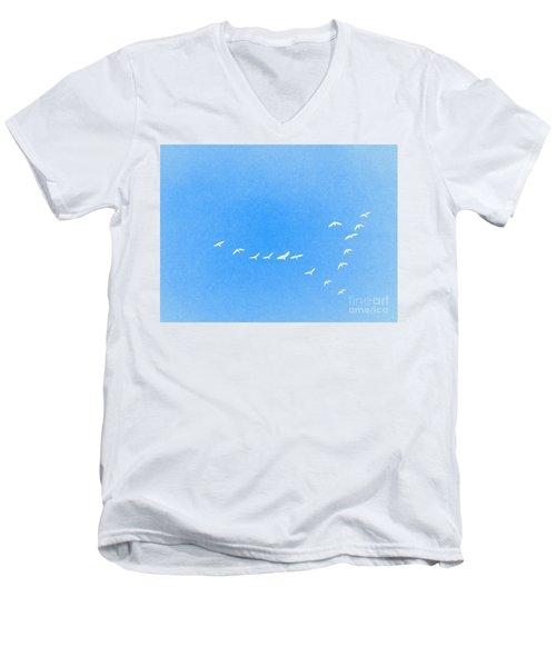 Flocking Geese  Men's V-Neck T-Shirt