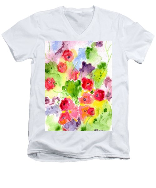 Men's V-Neck T-Shirt featuring the painting Floral Fantasy by Paula Ayers