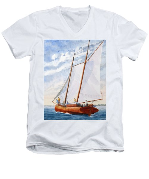 Florida Catboat At Sea Men's V-Neck T-Shirt