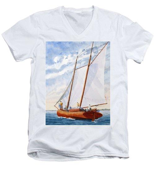 Florida Catboat At Sea Men's V-Neck T-Shirt