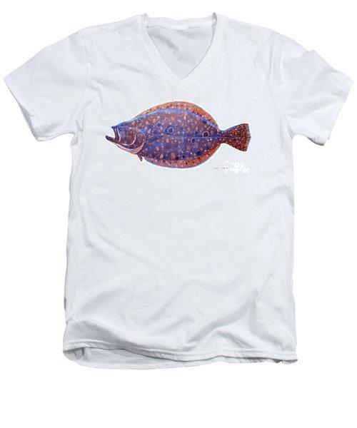 Flounder Men's V-Neck T-Shirt by Carey Chen