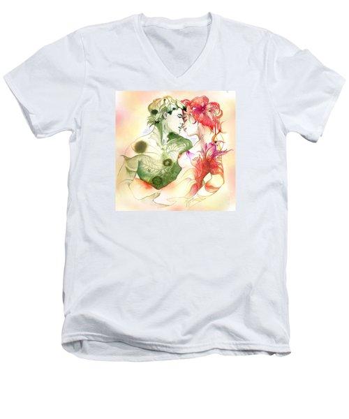 Flower And Leaf Men's V-Neck T-Shirt by Anna Ewa Miarczynska