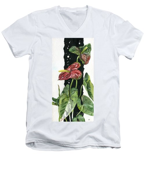 Men's V-Neck T-Shirt featuring the painting Flower Anthurium 01 Elena Yakubovich by Elena Yakubovich
