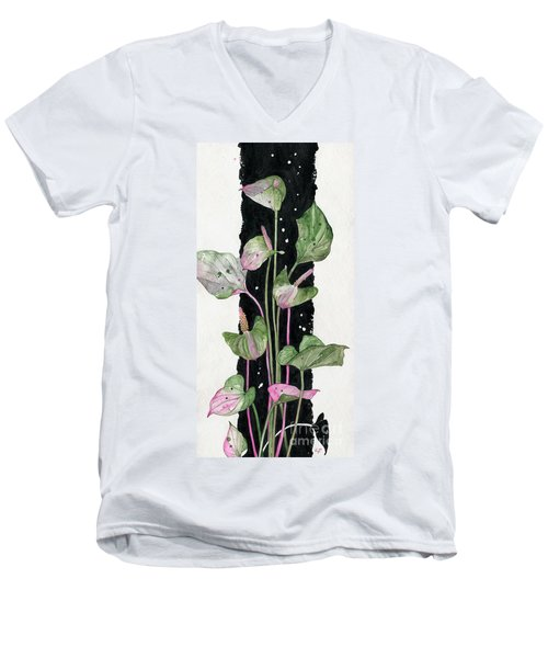 Men's V-Neck T-Shirt featuring the painting Flower Anthurium 02 Elena Yakubovich by Elena Yakubovich