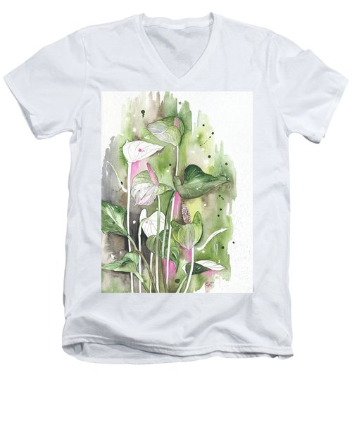 Flower Anthurium 04 Elena Yakubovich Men's V-Neck T-Shirt by Elena Yakubovich