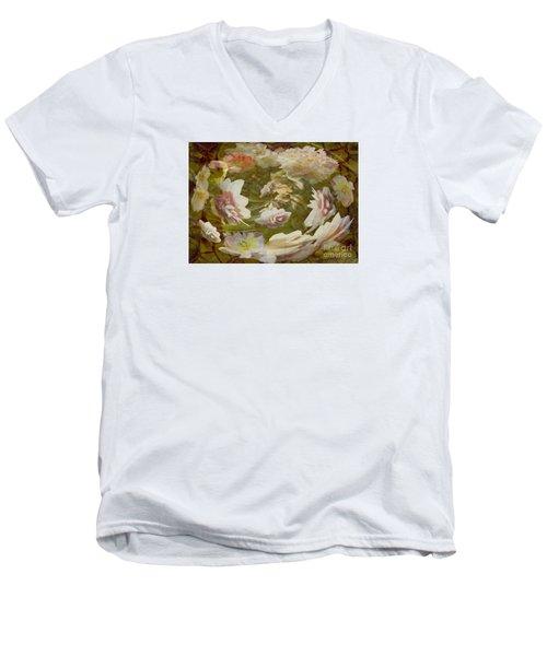 Flower Drift Men's V-Neck T-Shirt by Nareeta Martin