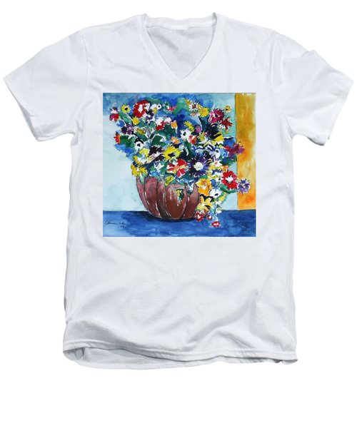Men's V-Neck T-Shirt featuring the painting Flower Jubilee by Esther Newman-Cohen